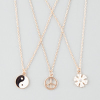 Full Tilt 3 Piece Peace/Flower/Yin Yang Necklaces Gold One Size For Women 25577662101