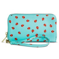 Women's Lady Bug Print Cell Phone Case Zipper Wallet - Blue