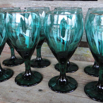 Vintage glassware Libbey teardrop Juniper teal green water goblets/ wine glasses, 16 AVAILABLE  wedding table glasses, holiday entertaining