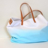 TOTE BAG...Aquamarine (with leather strap)....extra-large size - beach bag size (featured on Etsy front page)