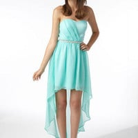Jewel Waist Hi Lo Dress