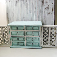 Light Blue Vintage Jewelry Box, Beach Cottage Blue and White Jewelry Holder, Distressed Wooden Jewelry Chest, Shabby Chic Jewelry Box