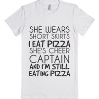 I Eat Pizza-Female White T-Shirt