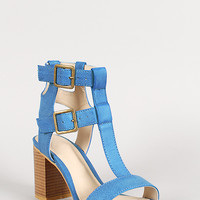 Leatherette Double Buckle T-Strap Chunky Heel