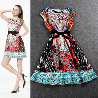 Floral Mixed Color Printed Sleeveless Mini Dress