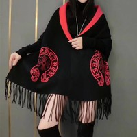 """Chrome Hearts"" Women Temperament Fashion Horseshoe Letter Cross Pattern Tassel Two Sides Knit Cashmere Shawl Coat"