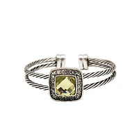 Twisted Cable Cuff Bangle Silver Bracelet With Yellow Austrian Crystal