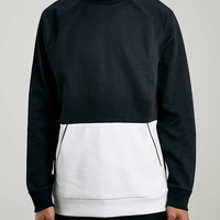 Cut and Sew Mesh Sweatshirt