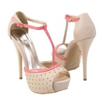 Qupid Women's DAZZLING107 Pink T-Strap Silver Studded Open Toe Platform Ankle Strap High Heel Sandal Pump Shoes, Nude Beige PU Leather, 8 B (M) US