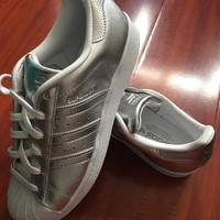 """""""Adidas"""" Superstar Shell toe Silver Casual Sneakers"""