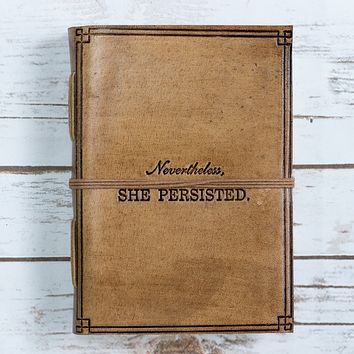 """""""She Persisted"""" Blonde Handmade Leather Journal"""