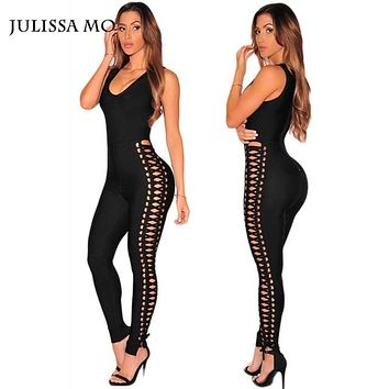 Julissa Mo Bodycon Jumpsuit Sexy V Neck Sleeveless Rompers Womens Jumpsuit Sexy Black Bandage Lace Up Women Romper Overalls