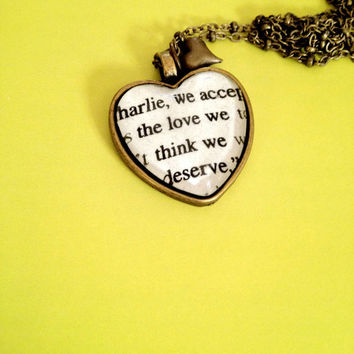 Perks of Being a Wallflower Antiqued Bronze Heart Book Page Necklace