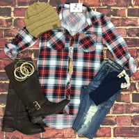 What I like about you Plaid Flannel Top: Red/Taupe