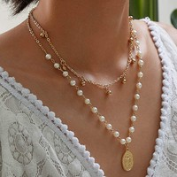 Coin Charm Faux Pearl Layered Necklace 1Pc