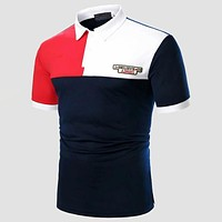 Fashion Casual Men Color-block Slogan Embroidery Polo Shirt