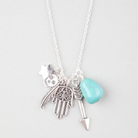Full Tilt Hamsa/Arrow/Stone Necklace Silver One Size For Women 24623114001
