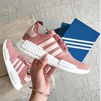 Best Online Sale Adidas NMD R1  Raw Pink S76006 -01 Boost Sport Running Shoes Classic Casual Shoes Sneakers