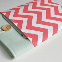 "13"" MacBook Air Case, Laptop Sleeve for 13"" Ultrabooks Custom Size - Coral Chevron"