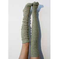 Dried Herb Marled Cable Knit Thigh High Socks, OTK Thigh Highs, Stockings, PM-088H