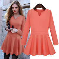 V-Neck Long Sleeve A-Line Dress