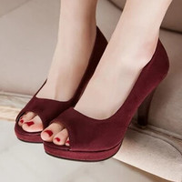 Women new fashion spring summer scrub casual sandals open toe 9.5cm high thick heels gladiator shoes large plus size 40-43