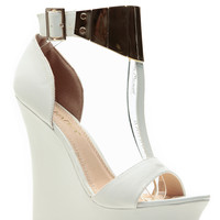 White T Plated Matte Wedges