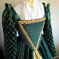 Custom Elizabethan Gown Ensemble Court Dress Historical Garb Renaissance Costume in your size and fabrics
