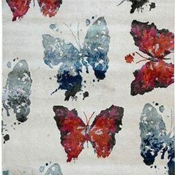 Harooni Amazing Butterflies Abstract Design 7x10 Modern Carpet Hand Tufted Area Rug