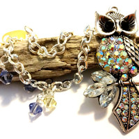 Beaded Owl Curtain Tieback Made With Purple and Yellow Swarovski Crystal Elements, Owl Home Decor, Window Decoration