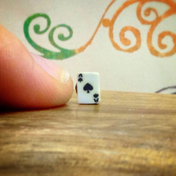 Ace of Spades card. Poker, magic tricks, blackjack.  Surgical Steel Stud Earring. Perfect for Helix and Cartilage Piercings.