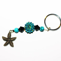 Beaded Keychain with Blue Accent and Silver Starfish Charm