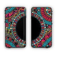 The Vector Colored Aztec Pattern WIth Black Connect Point Apple iPhone 6 Plus LifeProof Nuud Case Skin Set