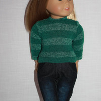 18 inch doll clothes, green stripe sweater, dark wash distressed bleached skinny jeans, american girl ,maplelea