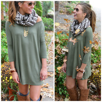 Heaven's Bliss Olive Quarter Sleeve Solid Dress