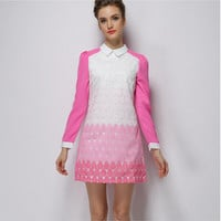 Pink And White Printed Long-Sleeve Collared Dress