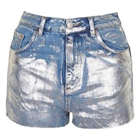 Topshop Moto Metallic Paint Cutoff Mom Shorts | Nordstrom