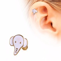 Gold Plated Cute White Elephant Cartilage Earring