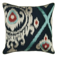 Rizzy Home Close up Ikat Navy & Silver Decorative Throw Pillow | www.hayneedle.com
