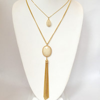 Stone & Fringe Layered Necklace In Ivory
