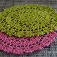 Set 6 Beautiful Color Doilies- Handmade Crochet- Vintage Design- Spring Collection- Table Decor