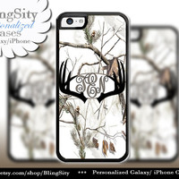 Black Antlers Monogram iPhone 5C 6 Plus Case Browning iPhone 5s iPhone 4 case Ipod White Camo Deer Personalized Country Inspired Girl