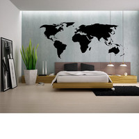World Map Wall Decal - Wall Art - High Quality Vinyl Decal