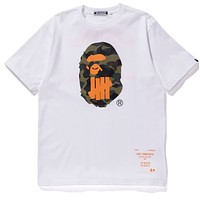 BAPE x UNDEFEATED Joint Classic Camouflage Shark Print Crew Neck Short Sleeve T-Shirt White
