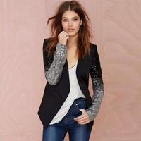 Women's Trendy Slim Fit Jacket With Half Sequined Sparkly Sleeves