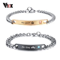 Vnox His and Her Matching Set Couple Bracelet Stainless Steel His Queen Her King Promise Lovers Bracelets Gift