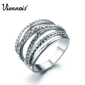 2015 Newest Viennois Fashion Jewelry Silver Multiple Woman Wedding Rings with Austrian Rhinestone Luxury Ring Brand