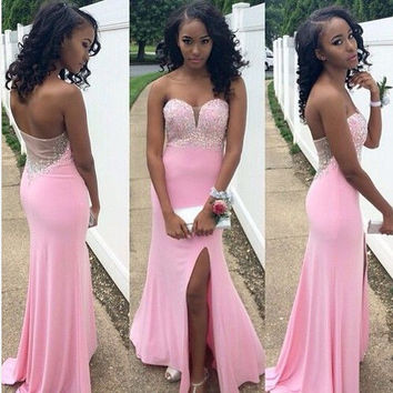 Pink Prom Gown with Slit pst0527