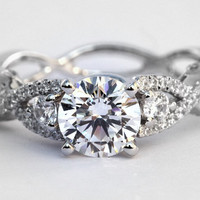 Diamond Engagement Ring - 1.50 carat Round - Pave - Antique Style - 14K white gold - Weddings- Luxury- Brides