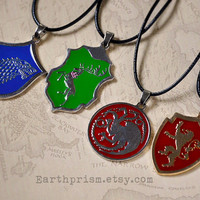Game of Thrones Sigil Pendant Necklace / Stark / Baratheon / Targaryen / Lannister / A Song of Ice and Fire